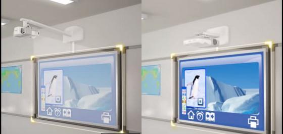Une image démontrant que le vidéoprojecteur de très courte focale est la solution pour éliminer les ombres